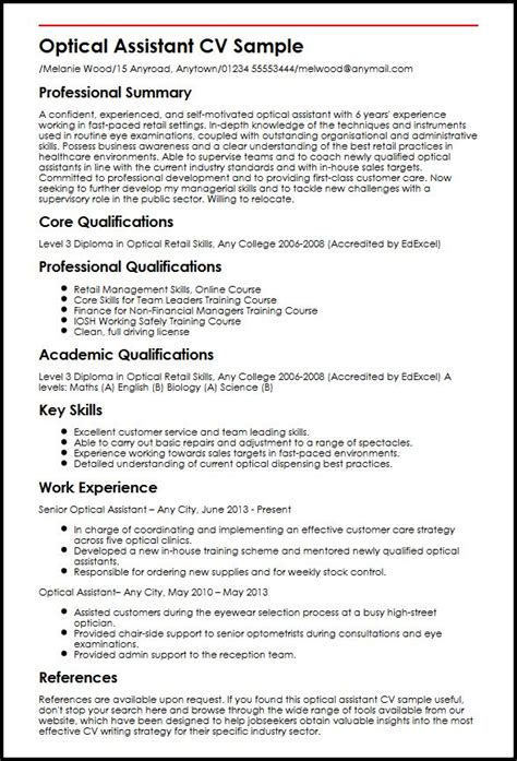optical assistant cv sle myperfectcv