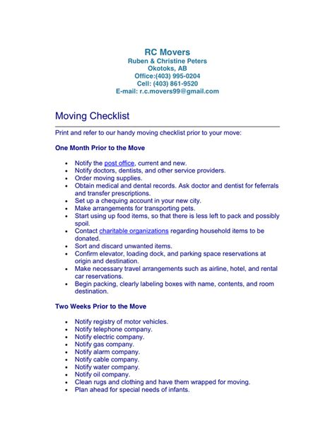 sle moving checklist moving checklist template in word and pdf formats