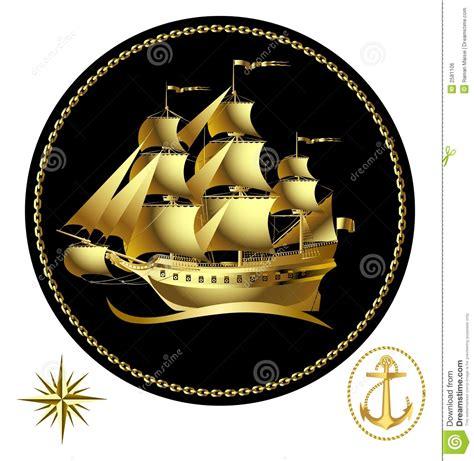 gold sailing ship royalty  stock image image