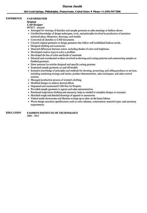 Cad Designer Resume by Cad Designer Resume Sle Velvet