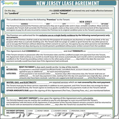 printable rental agreement nj new jersey rental agreement