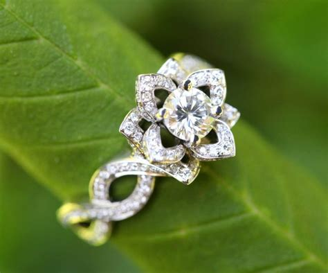 Wedding Rings That Look Like Flowers by In Bloom Solid Platinum Unique Flower Lotus