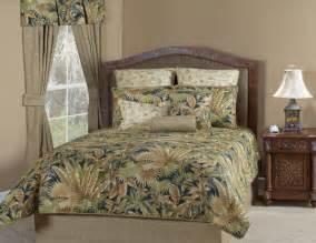 Details about 4pc green beige bl ack tropical leaf comforter set queen