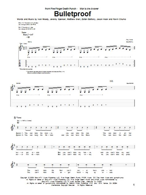 bulletproof song bulletproof guitar tab by five finger death punch guitar