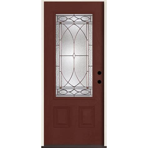 Shop Reliabilt Lite Patterned Glass Shop Reliabilt Hutton 3 4 Lite Decorative Glass Left Inswing Wineberry Stained Fiberglass
