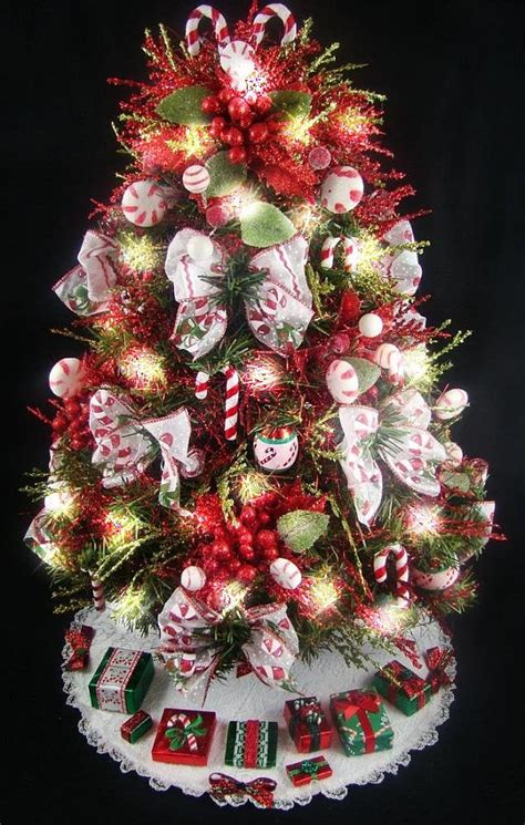 decorative mini tabletop christmas tree candy cane theme