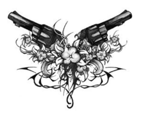 tribal gun tattoo designs gun with flowers picture at checkoutmyink