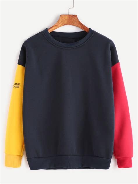 contrast sleeve letter print sweatshirt shein sheinside
