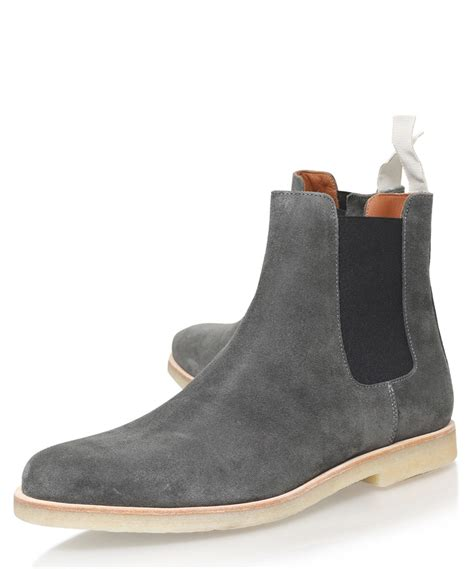 gray suede boots common projects grey suede chelsea boots in gray for