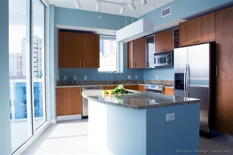 blue modern wooden kitchen designs quot modern monday quot kitchen of the day blue walls cherry