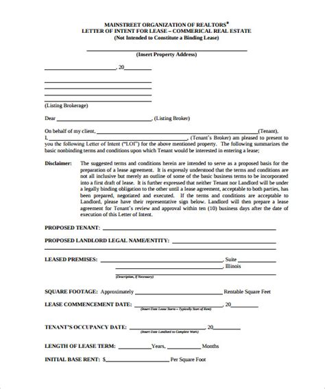 Letter Of Intent Lease Real Estate letter of intent for commercial property 10 real estate