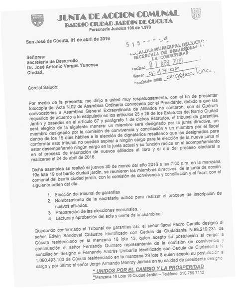 carta de retiro junta de accion comunal pol 233 mica por elecciones de comunales la opini 243 n