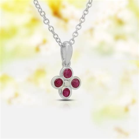 Ruby Pendant Silver Necklace ruby silver pendant necklace with 16 inch chain