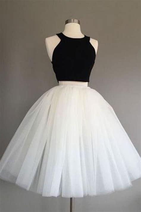 simple  pieces black  white short prom dress