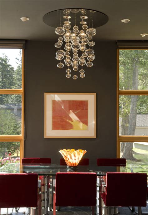 rectangular chandelier lighting dining room eclectic with