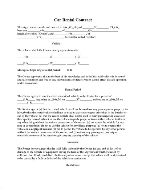3 vehicle lease agreement template printable receipt