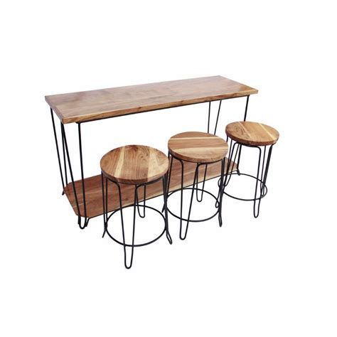 console table with stools benzara contemporary brown finish wood iron console