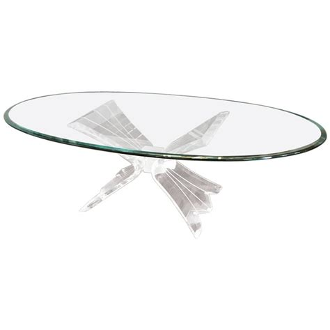 Mid Century Coffee Table With Lucite Base And Glass Top Lucite Coffee Table Base