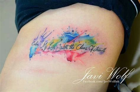 watercolor tattoo font watercolor style colored thigh of small lettering