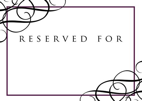 High Resolution Reserved Signs For Tables 11 Reserved Reserved Table Sign Template