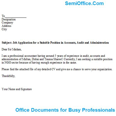 Cover Letter Application For Any Suitable Position Application For A Suitable Position In Accounts