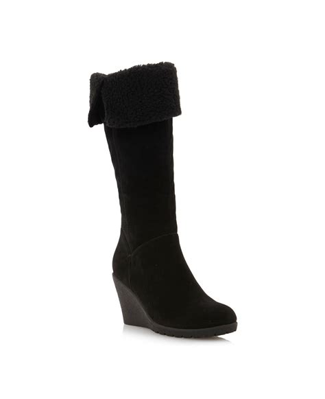 linea tahiti crepe sole wedge hi leg boots in black lyst