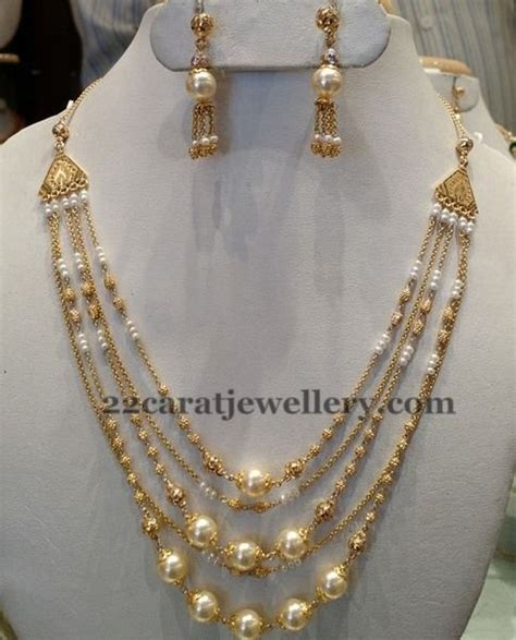 pearl necklace design jewellery designs 5 rows pearl necklace 25 grams
