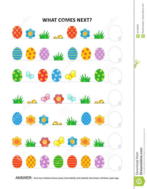 pattern recognition course easter themed educational logic game sequential pattern