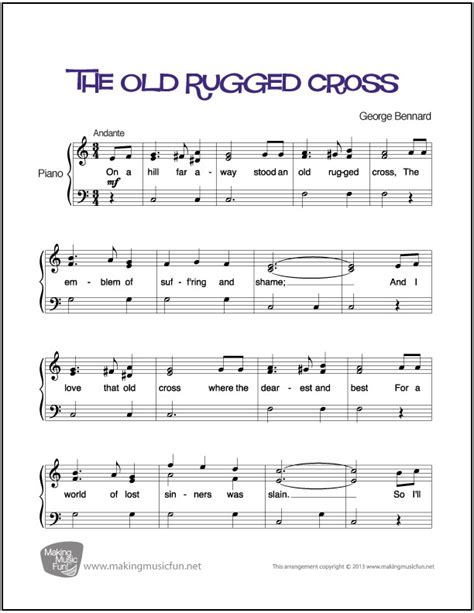 the rugged cross piano sheet the rugged cross easy piano sheet digital print