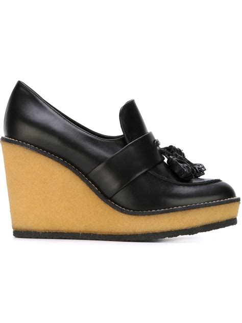 black wedge loafers lyst robert clergerie wedge loafers in black