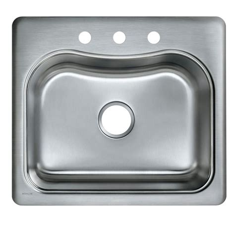 kitchen sink stainless steel kohler staccato drop in stainless steel 25 in 3 hole single bowl kitchen sink k 3362 3 na the