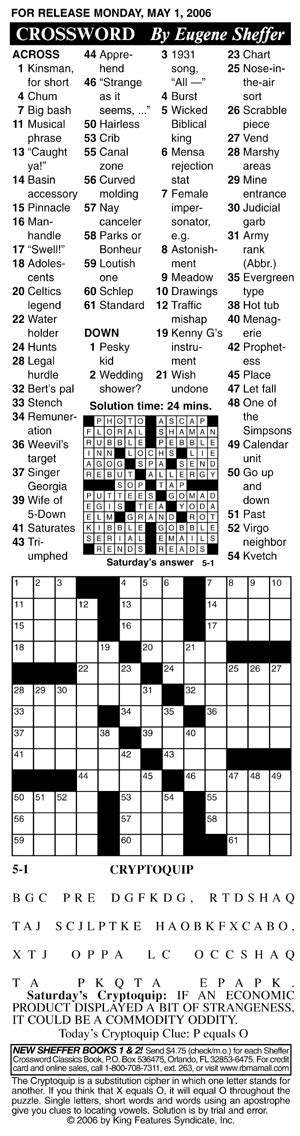 Sheffer Crossword Printable