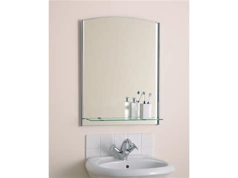 Beautiful Bathroom Mirror With A Glass Shelf Endon El Bathroom Shelves Uk