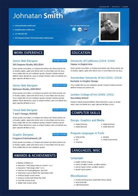 Cv Template With Photo Modern Resume Search Resumes Designs Curriculum Schools And Resume