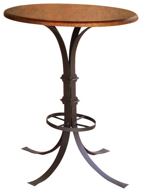copper top bar table artisan home valencia round pedestal bistro table with