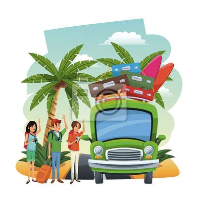Plakat Friends by Plakat Friends Traveling To The With Car Vector