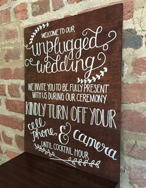 Wedding Ceremony No by Unplugged Wedding Ceremony Sign Stained Wood By