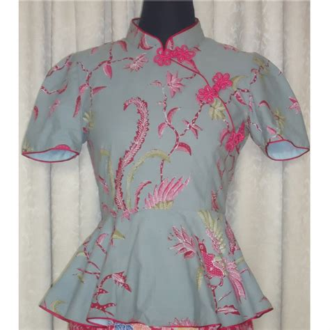 Blouse Batik Katun blouse batik katun cheongsam hijau pupus