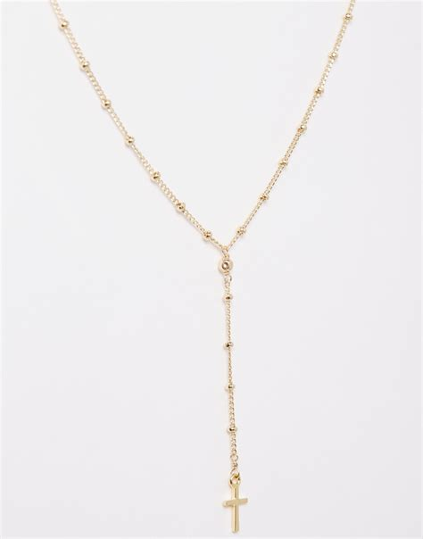 Cross Drop Necklace lyst dogeared gold plated peace beaded y simple