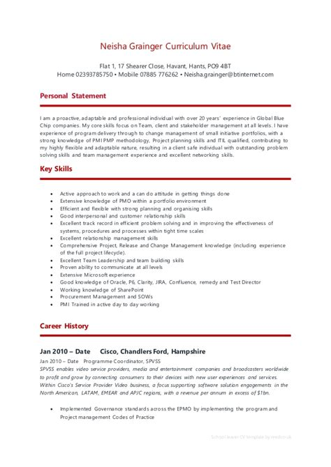 school leaver resume exle neisha grainger cv
