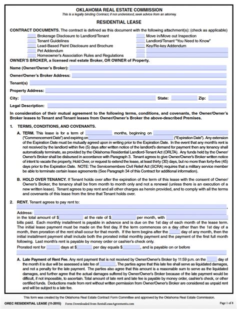 free oklahoma standard residential lease agreement pdf