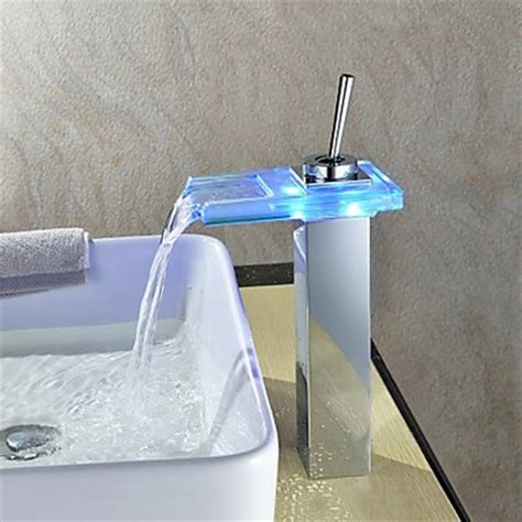 waterfall color changing led bathroom sink tap t0818