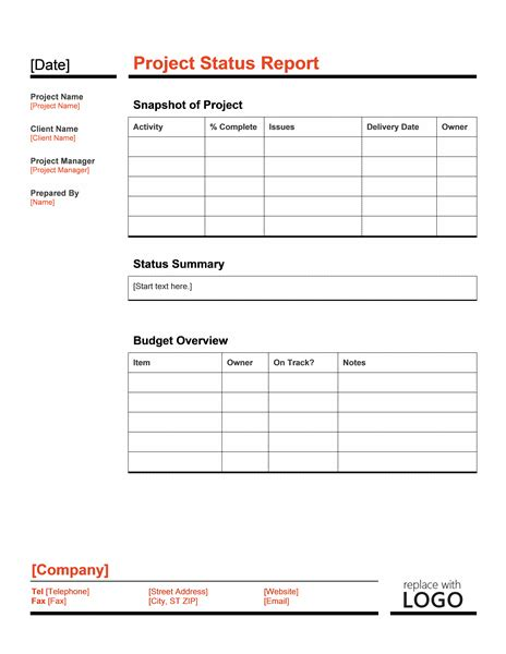 Simple Status Report Template Project Status Report Template Office Templates