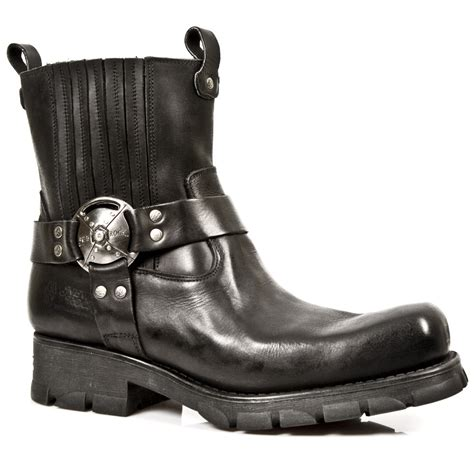 motorcycle ankle m 7605 s1 black new rock motorcycle ankle boots