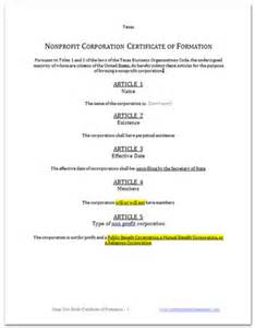 Non Profit Tx Profit Articles Of Incorporation Ontario Articles