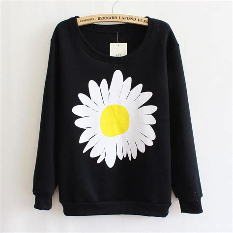 Flower Black Sweater 1 free ship flower floral pattern sweatshirt sweater fleece winter fall black