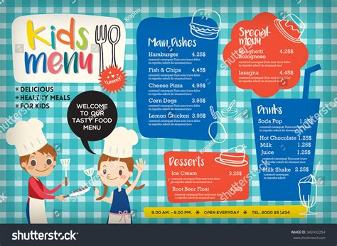 Cute Colorful Kids Meal Menu Placemat Vector Template 342492254 Shutterstock Placemat Menu Templates