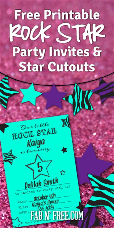 Free Rock Star Party Printables Fab N Free Rock Birthday Invitation Templates