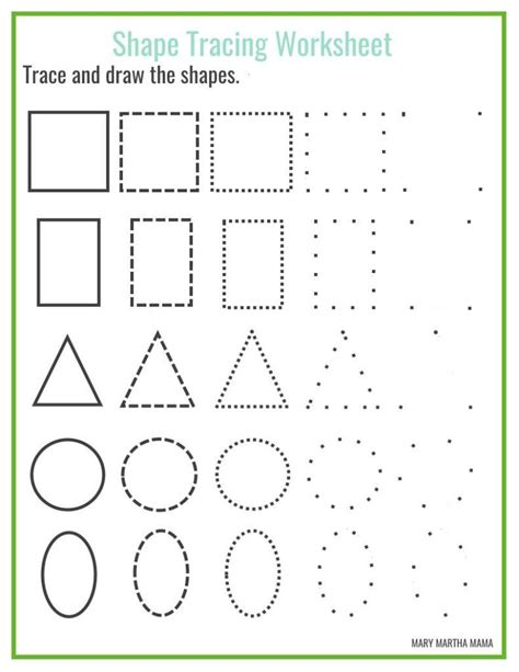 free printable learning shapes free shape tracing printables kbn learning activities