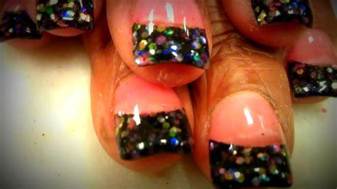 nail art glitter tips tutorial p2 black glitter tips nail tutorials acrylic nails and